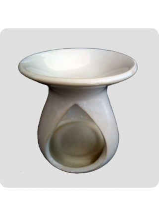 Oil burner white ceramic drop shaped