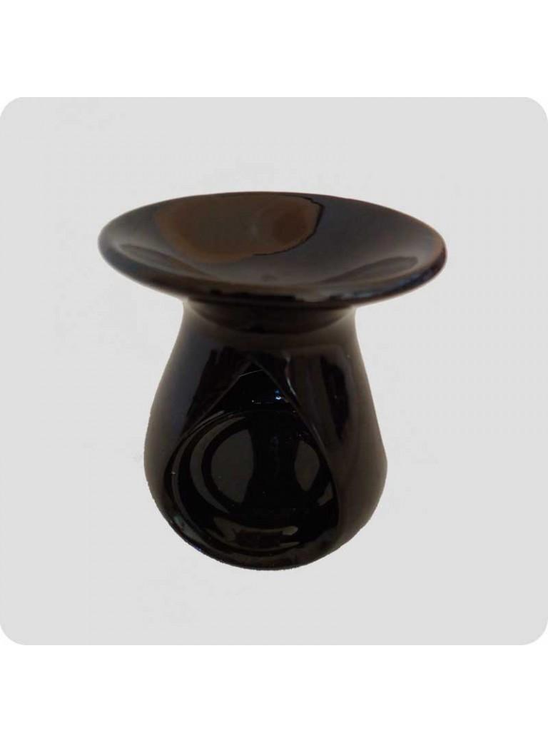 Oil burner black ceramic drop shaped