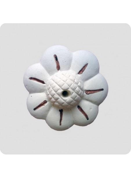 Røgelsesholder hvid blomst keramik