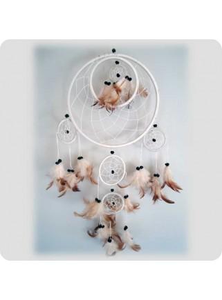 Dreamcatcher 22 cm white 6 rings