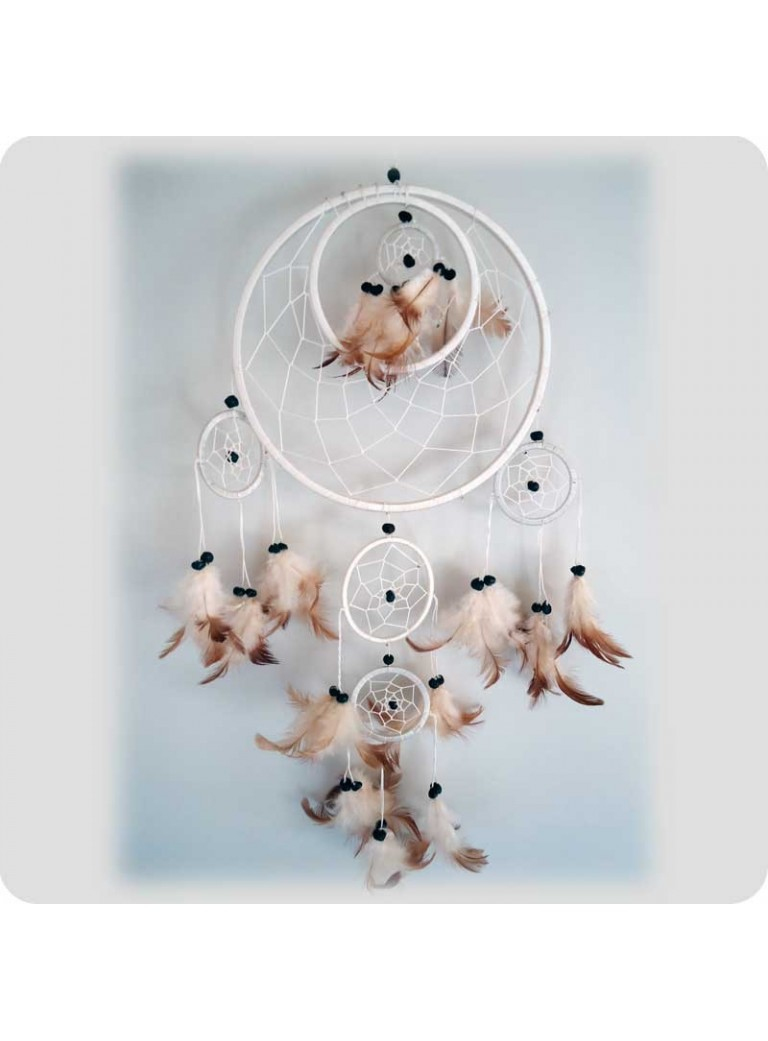 Dreamcatcher 22 cm white 6 rings