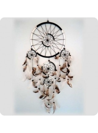 Dreamcatcher 22 cm black/white ring in the middle