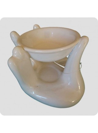 Aromalampe hånd hvid keramik