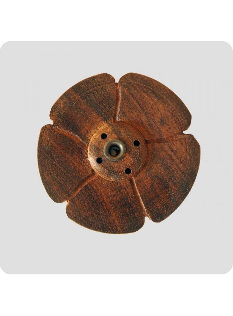 Tibetan incense holder wood flower flat