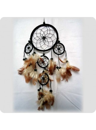 Dreamcatcher 12 cm black brown feathers 5 rings