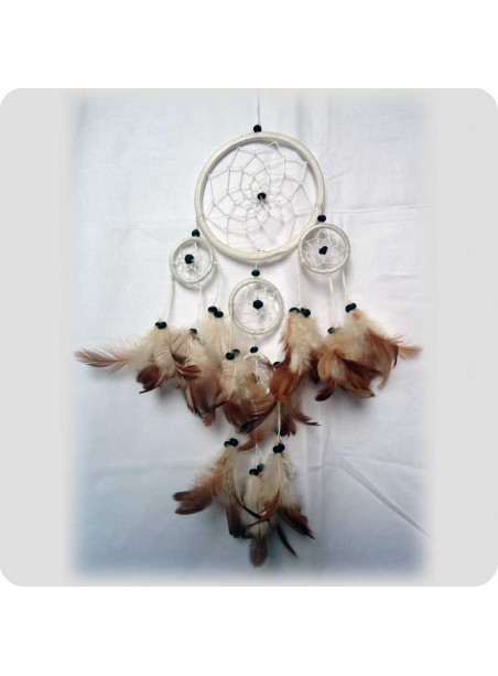Drømmefanger 12 cm hvid m/brune fjer 5 ringe