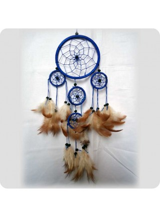 Dreamcatcher 12 cm blue brown feathers 5 rings