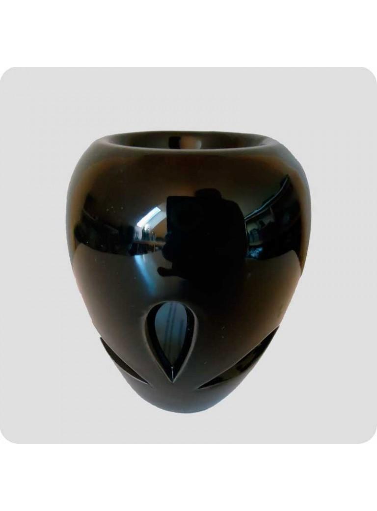 Aromalampe sort keramik med bladformede udskæringer
