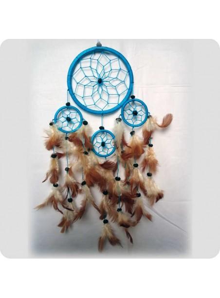 Drømmefanger 12 cm turkis m/brune fjer