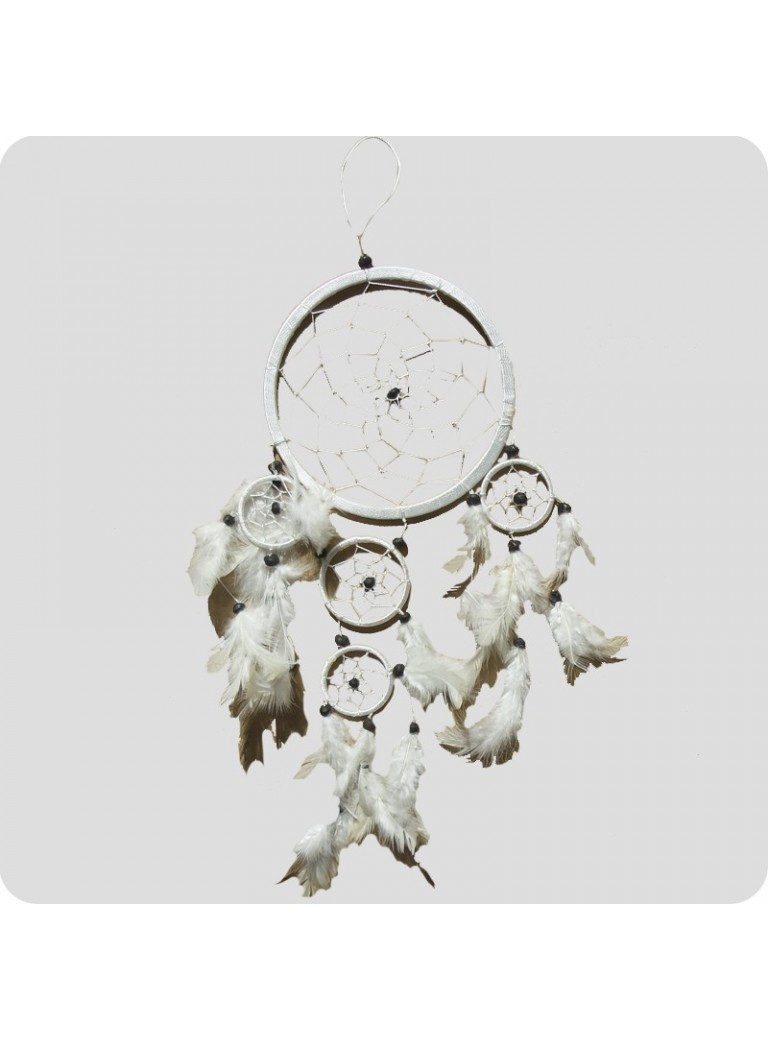 Dreamcatcher 12 cm white/white feathers