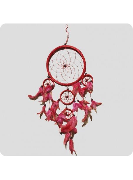 Drømmefanger 12 cm rød m/røde fjer