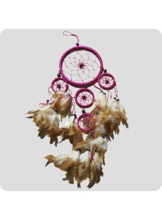 Dreamcatcher 12 cm pink with brown feathers