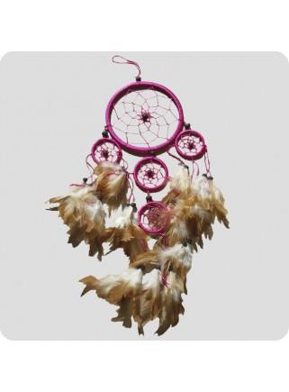 Drømmefanger 12 cm pink m/brune fjer