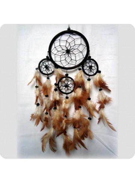 Dreamcatcher 12 cm dark brown 4 rings