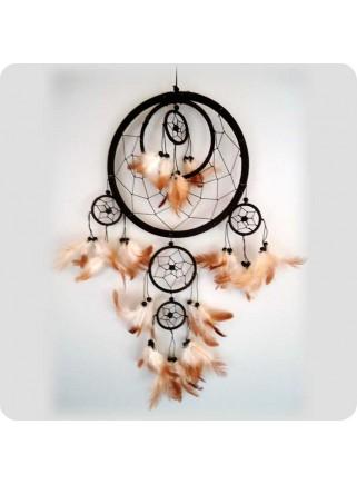Dreamcatcher 22 cm brown 6 rings