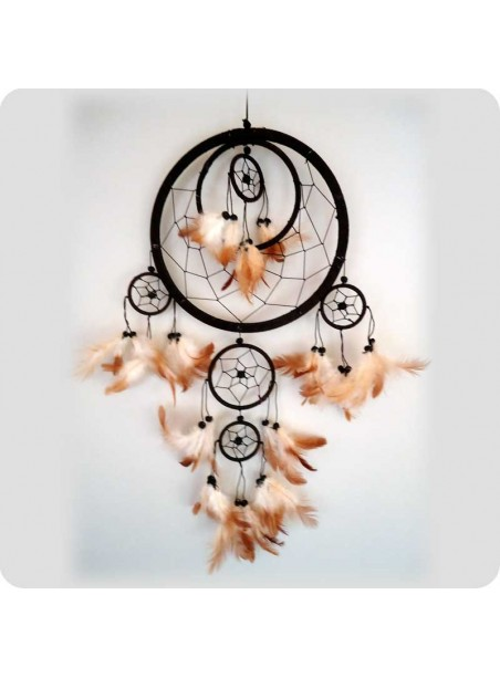 Dreamcatcher 22 cm brown 6 rings